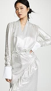 Anais Jourden 银色裥褶女式衬衫