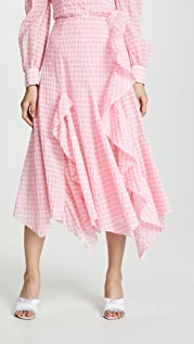Anais Jourden Striped Midi Skirt with Ruffle