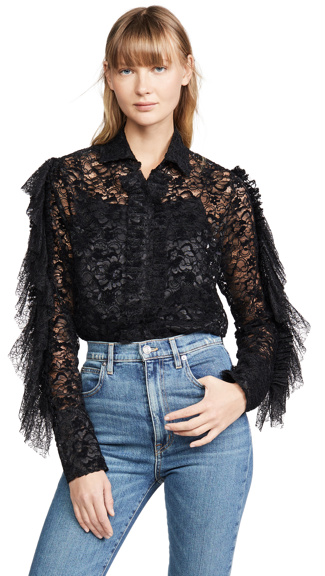 Buy Anais Jourden online - photo of Anais Jourden Black Velvet Lace Shirt with Ruffles