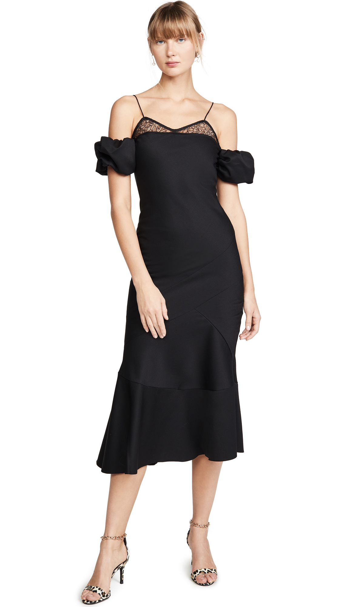 Buy Anais Jourden online - photo of Anais Jourden Black Lace & Wool Midi Dress with Puff Sleeves