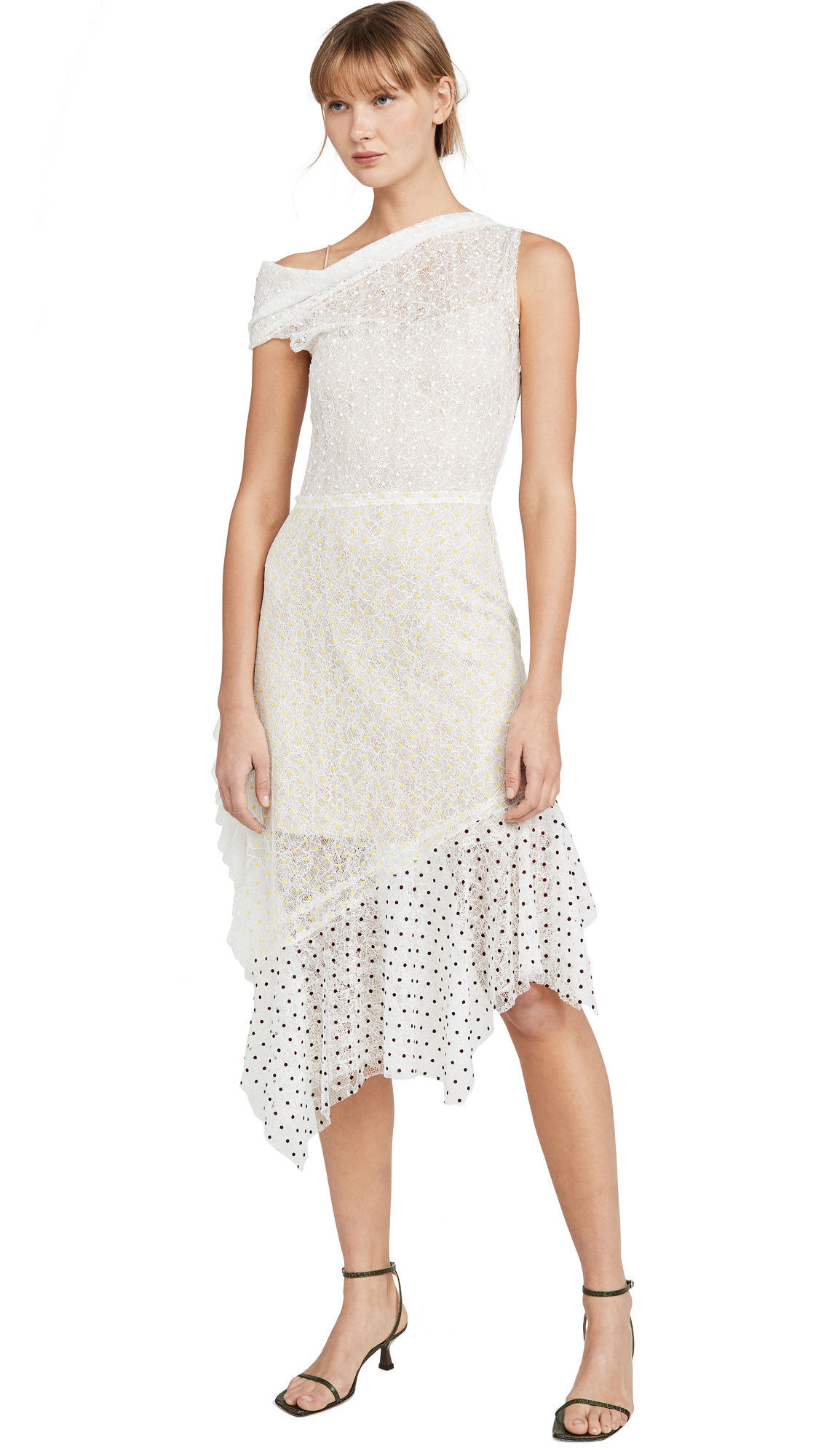 Buy Anais Jourden online - photo of Anais Jourden Duo Lace Off Shoulder Midi Dress In White Rainbow