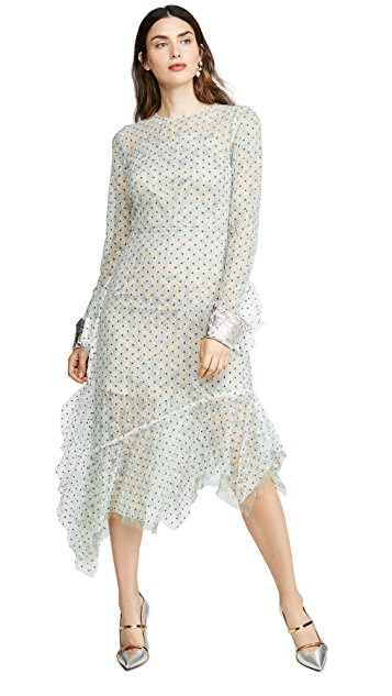 Anais Jourden Green Duo Lace Midi Dress