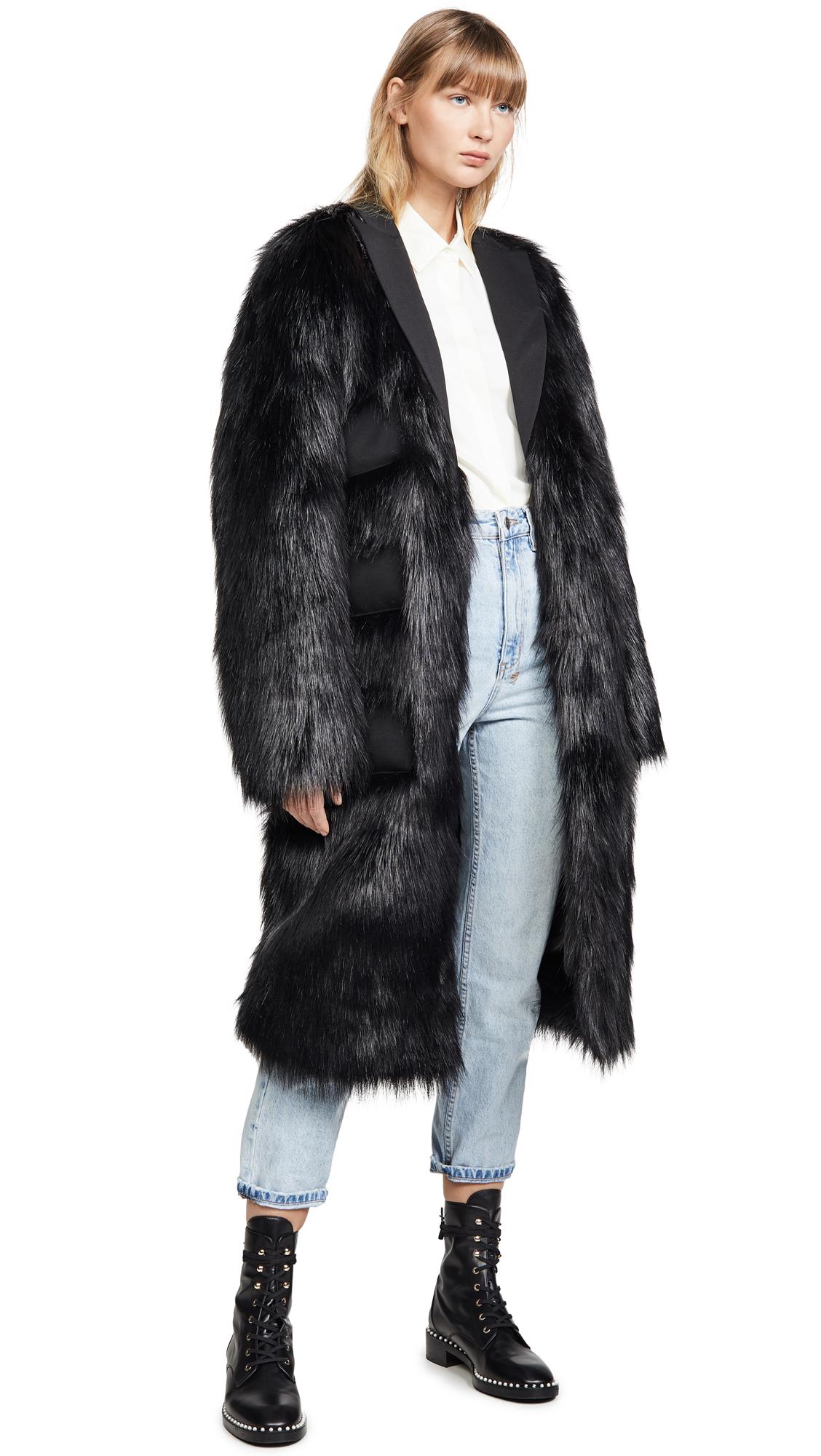 Buy Anais Jourden online - photo of Anais Jourden Black Faux Fur Maxi Blazer with Triple Pockets