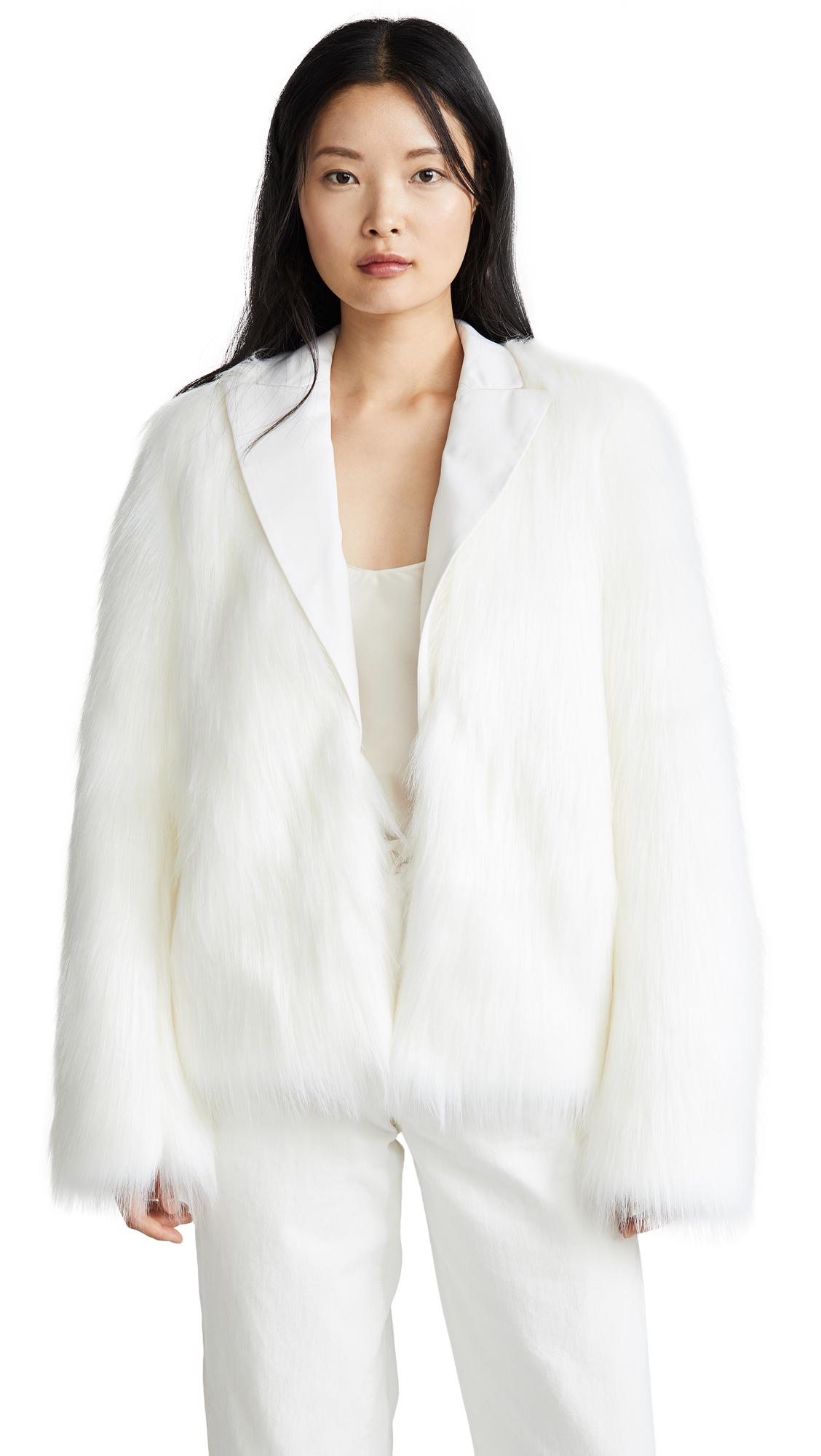 Buy Anais Jourden online - photo of Anais Jourden White Faux Fur Blazer