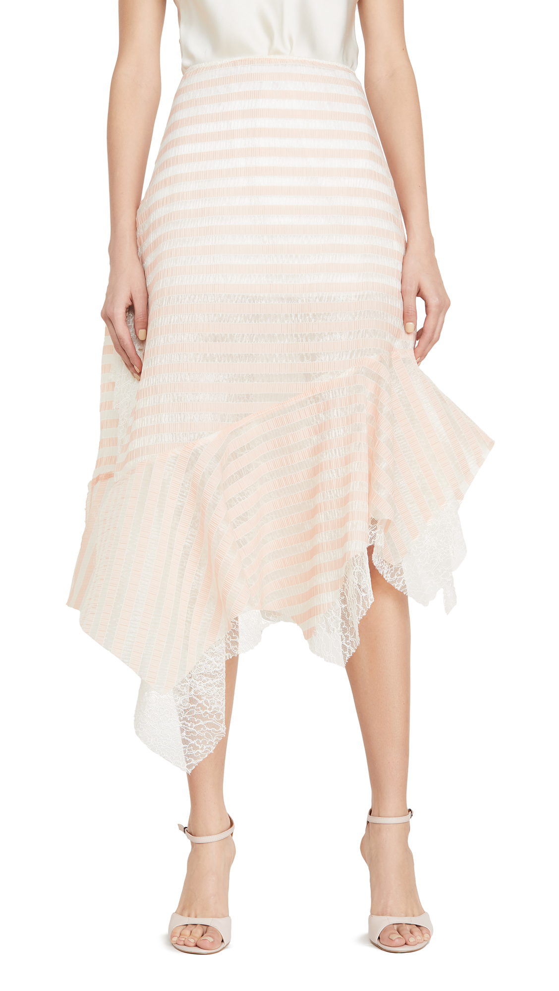 Buy Anais Jourden online - photo of Anais Jourden Sheer Striped Lace Skirt with Side Ruffles
