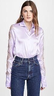 Anais Jourden 淡紫色真丝缎面衬衫