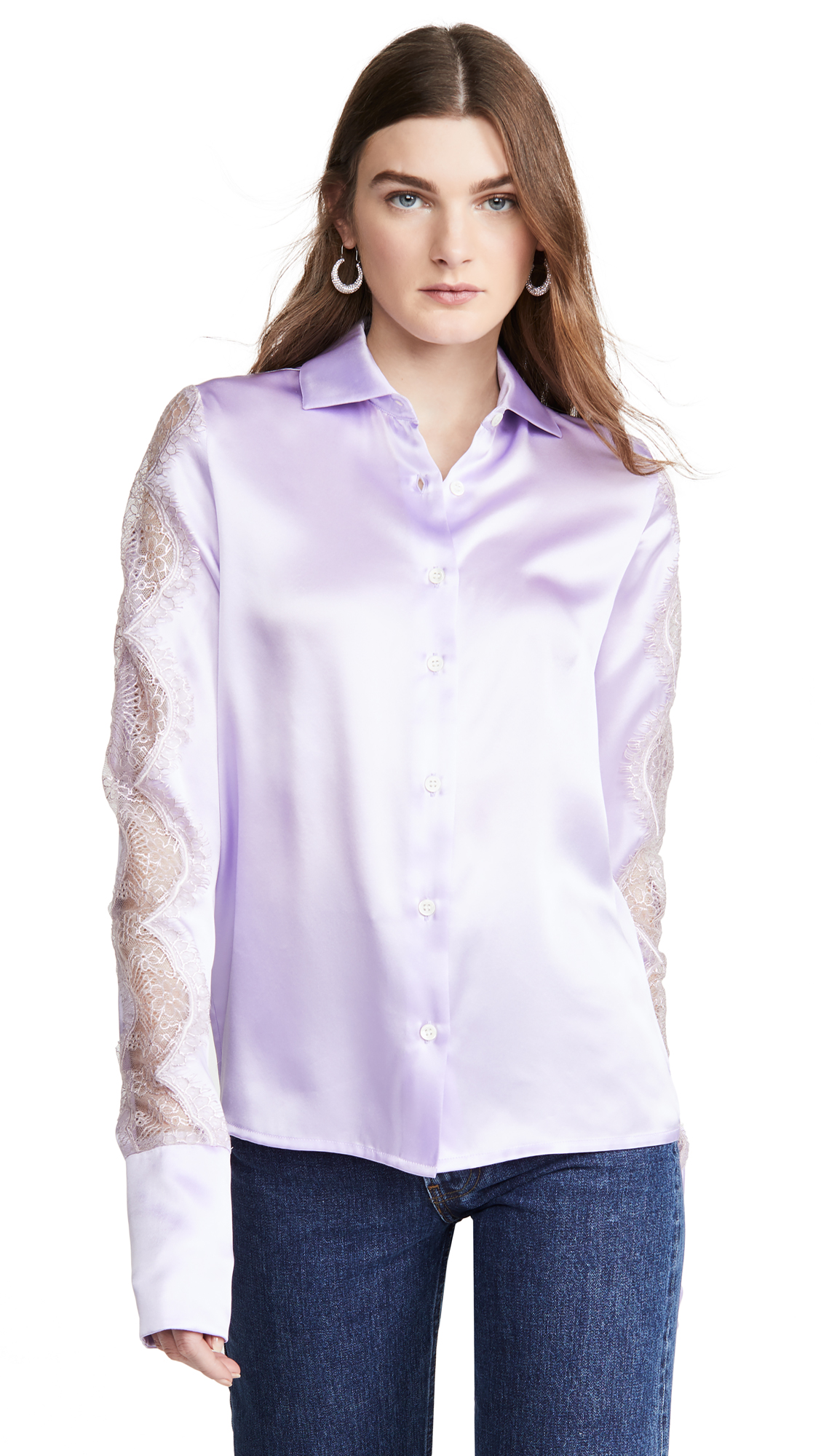 Anais Jourden Lilac Silk Satin Shirt – 50% Off Sale