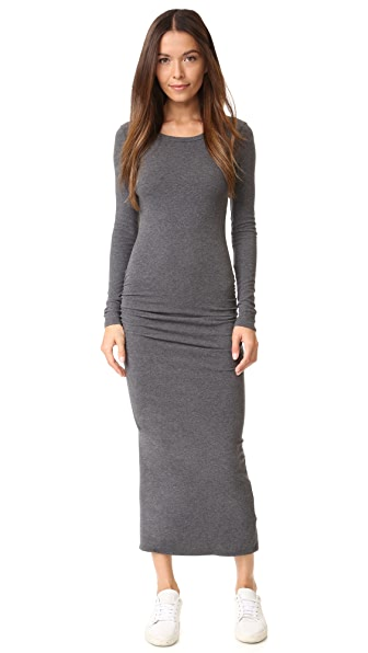 James Perse Skinny Split Dress - Heather Charcoal