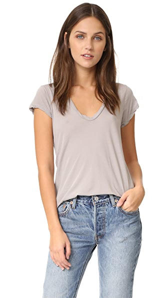 James Perse High Gauge Jersey Deep V Tee - Dapple