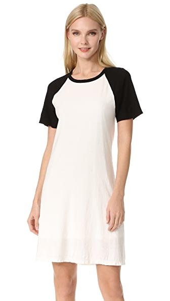 James Perse Flared Baseball Dress - Ice Cream Black