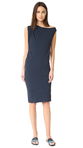 James Perse One Shoulder Draped Dress In Deep