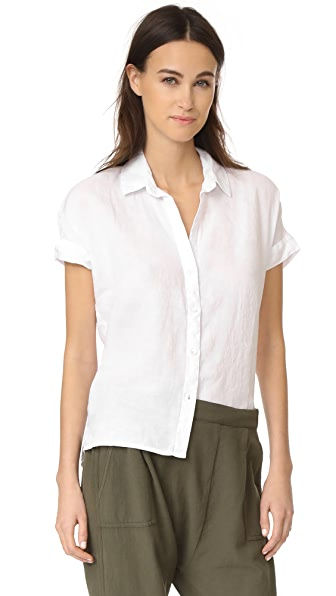 James Perse Short Sleeve Linen Shirt - White