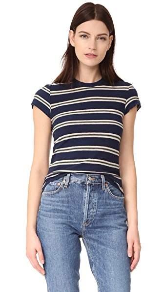 James Perse Retro Stripe Tee In Thames Blue/Reed