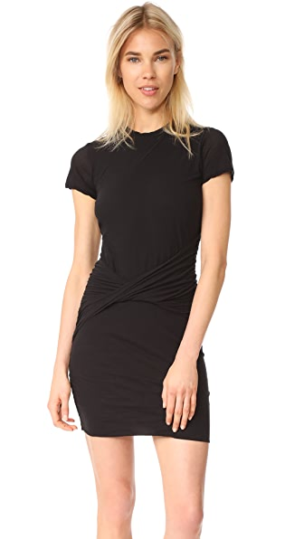 James Perse Short Sleeve Twisted Drape Dress In Black