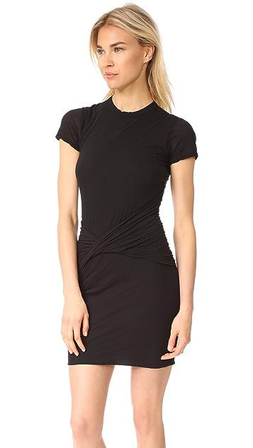 James Perse Short Sleeve Twisted Drape Dress
