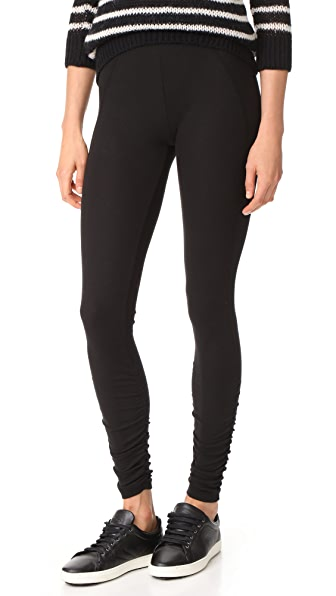 James Perse Ruched Ankle Leggings - Black