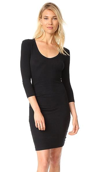 James Perse Skinny Tucked Dress - True Black