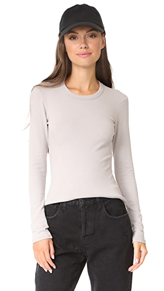 James Perse Brushed Jersey Long Sleeve Crew Tee In Dapple