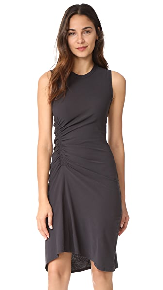 James Perse Spiral Shirred Dress In Carbon