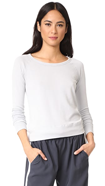 James Perse Classic Long Sleeve Raglan Sweatshirt In Vapor