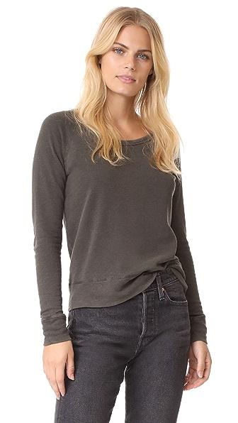 James Perse Classic Long Sleeve Raglan Sweatshirt - Smoky Green