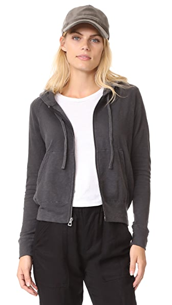 James Perse Classic Zip Up Hoodie - Carbon