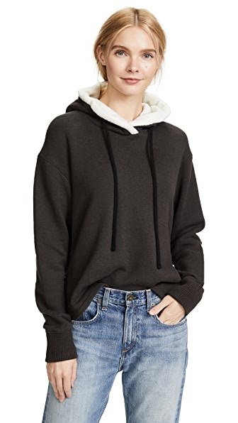 James Perse Sherpa Pullover Hoodie In Carbon
