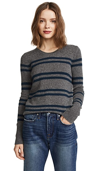 James Perse Striped Shrunken Cashmere Crew Sweater