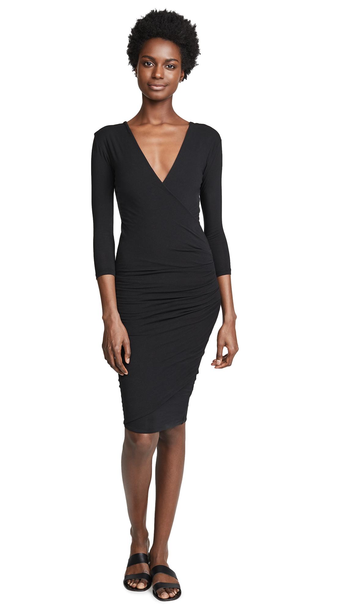 James Perse Skinny Wrap Tuck Dress In Black
