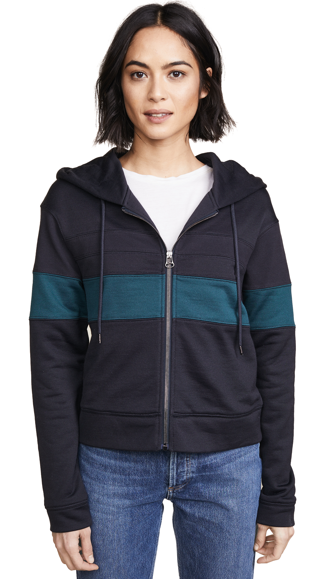 James Perse Colorblocked Hoodie In Mine/Liquid