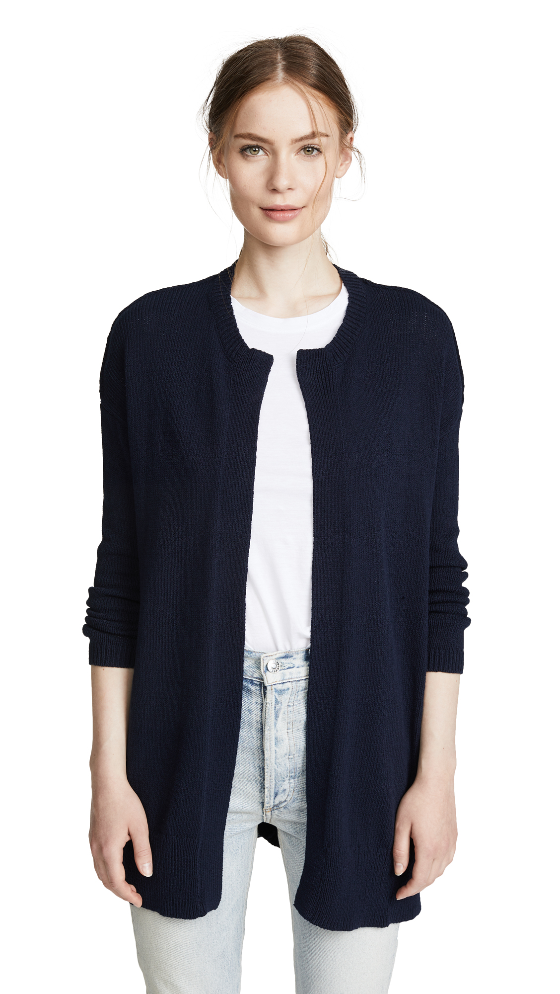 James Perse Drop Shoulder Buttonless Cardigan In Navy