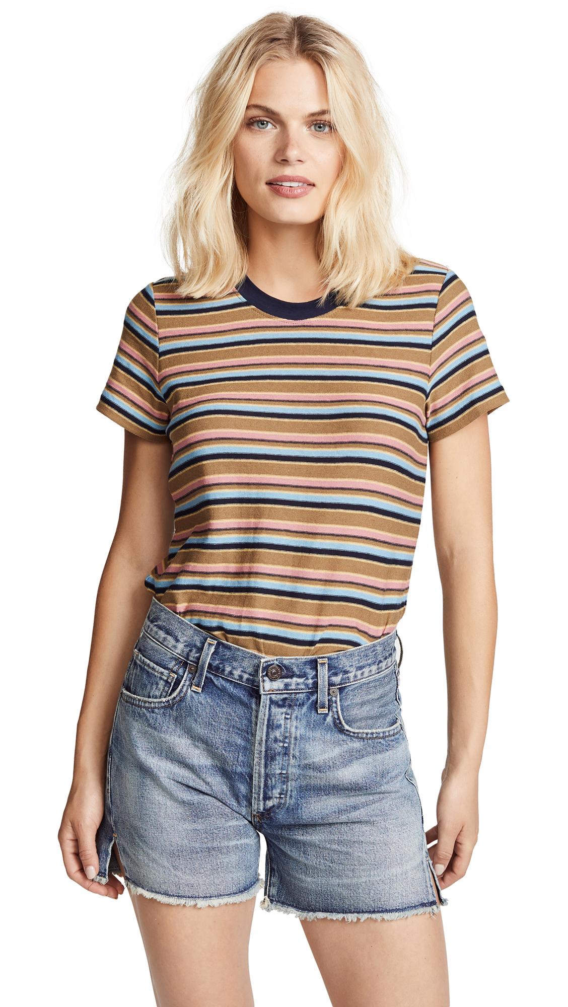 Vintage Boy Striped Cotton-Blend Jersey T-Shirt, Khaki Multi Stripe