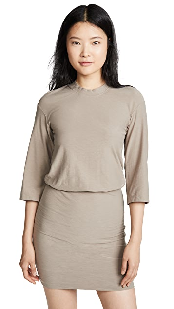James Perse Drop 3/4 Sleeve Blouson Dress