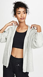 James Perse Cropped Full Zip Cashmere Hoodie