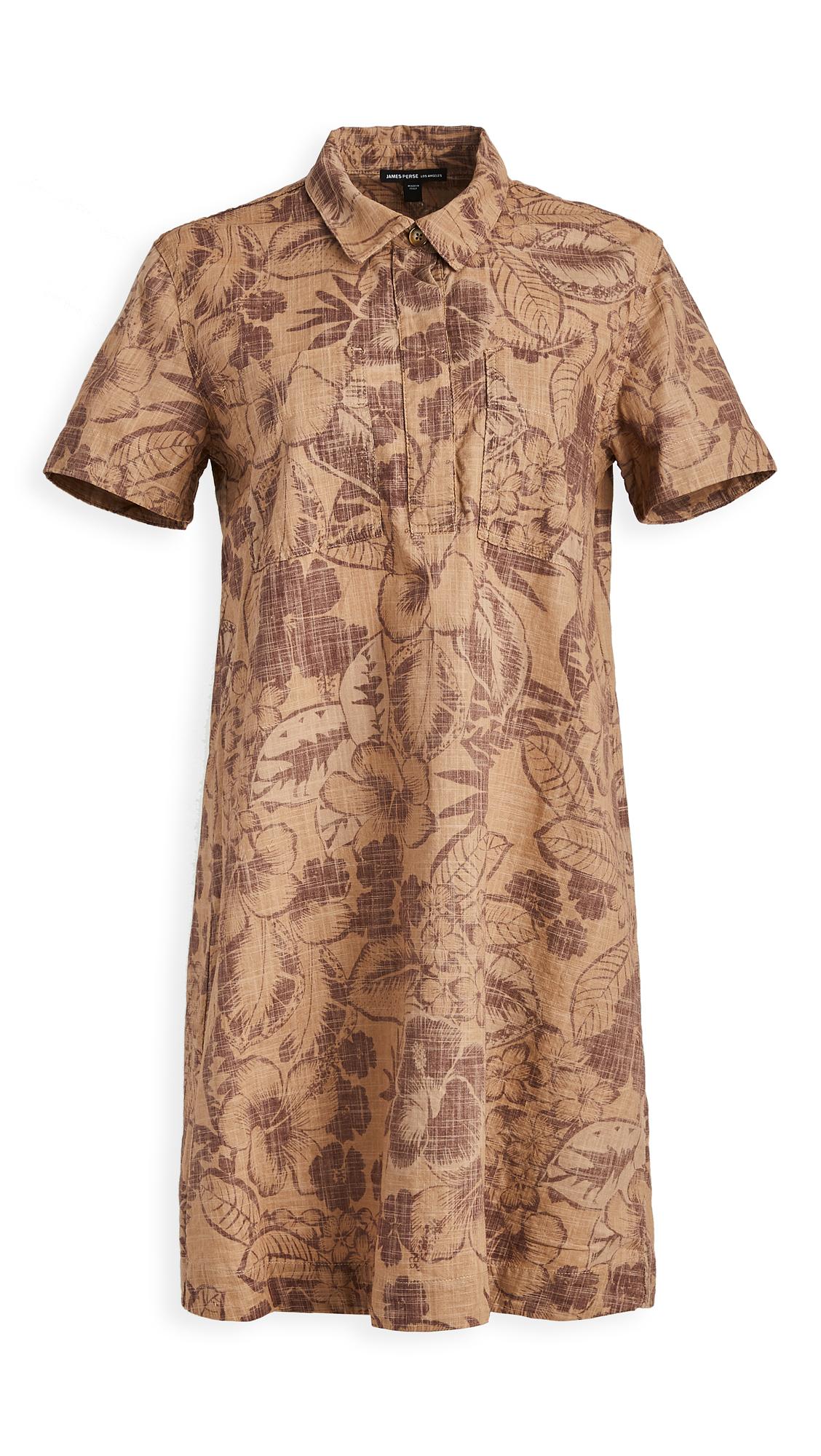 James Perse Tropical Print Shirt Dress