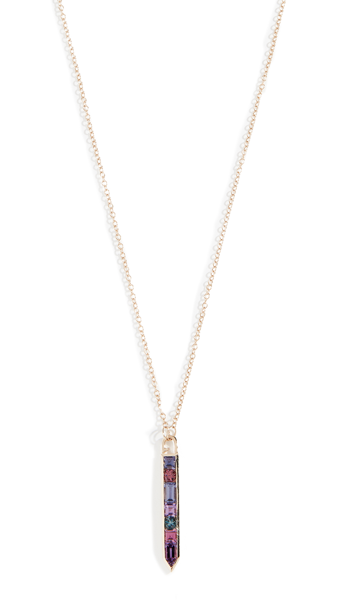 JANE TAYLOR 14K Vertical Arrow Necklace in Purple Multi