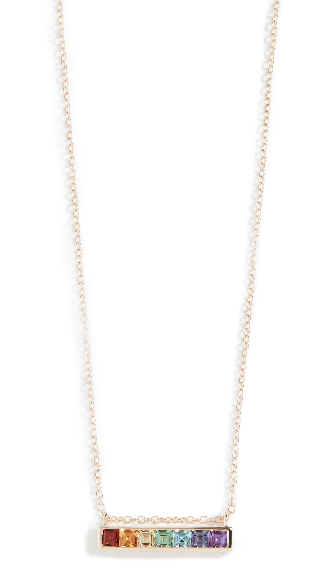 JANE TAYLOR 14K Channel Set Bar Necklace in Yellow Gold/Multi