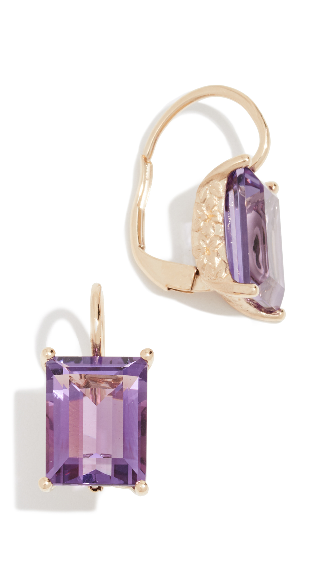 JANE TAYLOR 14K Baguette Drop Earrings in Yellow Gold/Purple
