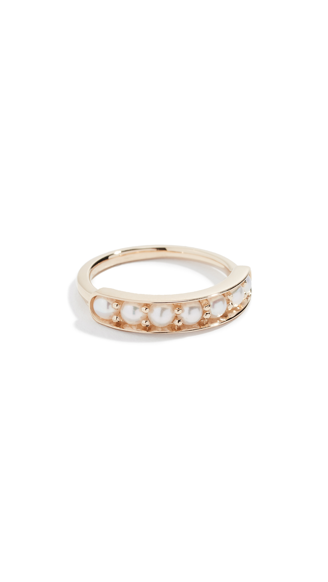 JANE TAYLOR 14K Half Eternity Band Ring in Pearl