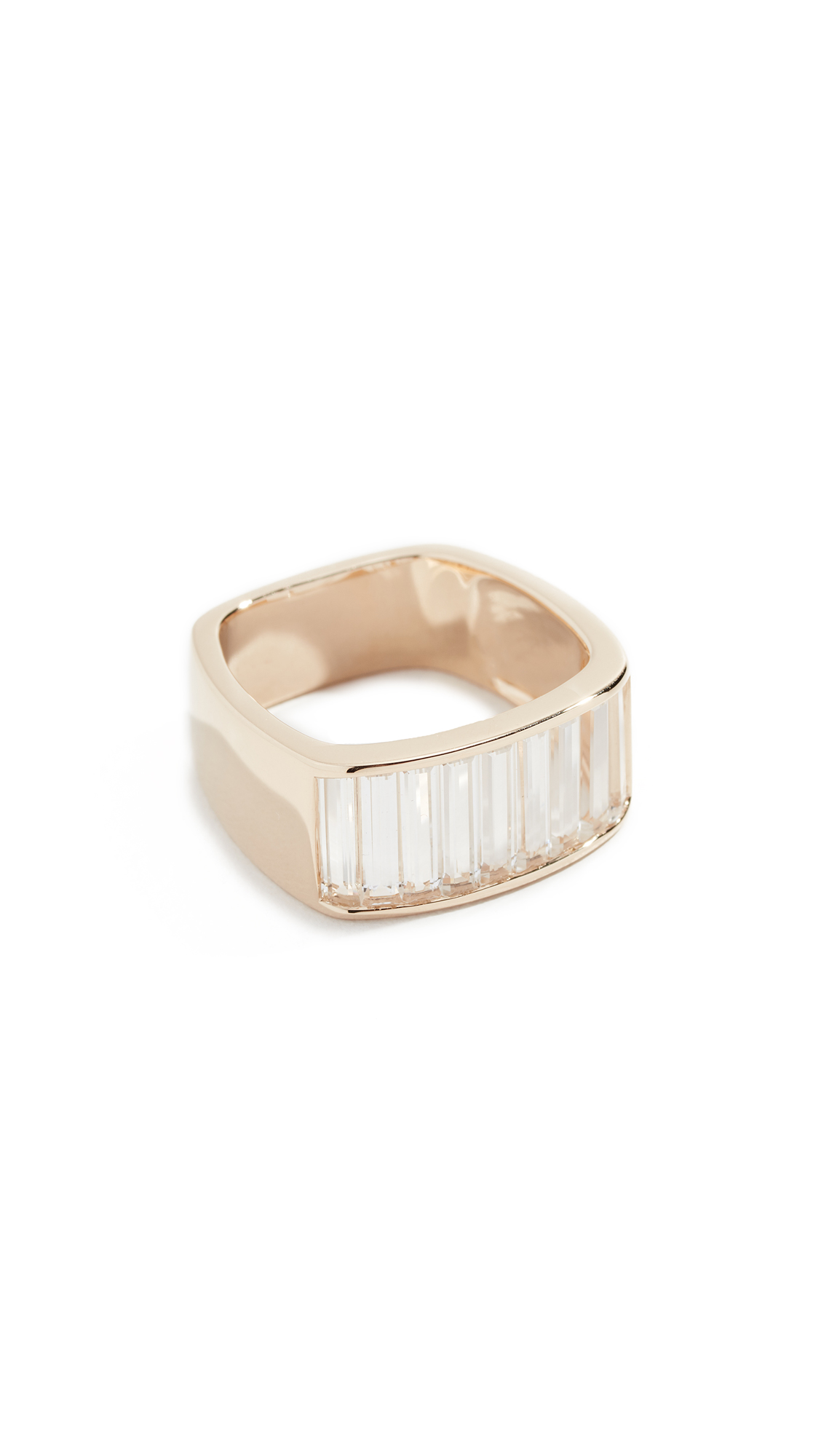 JANE TAYLOR 14K Square Band Ring in Yellow Gold/Clear