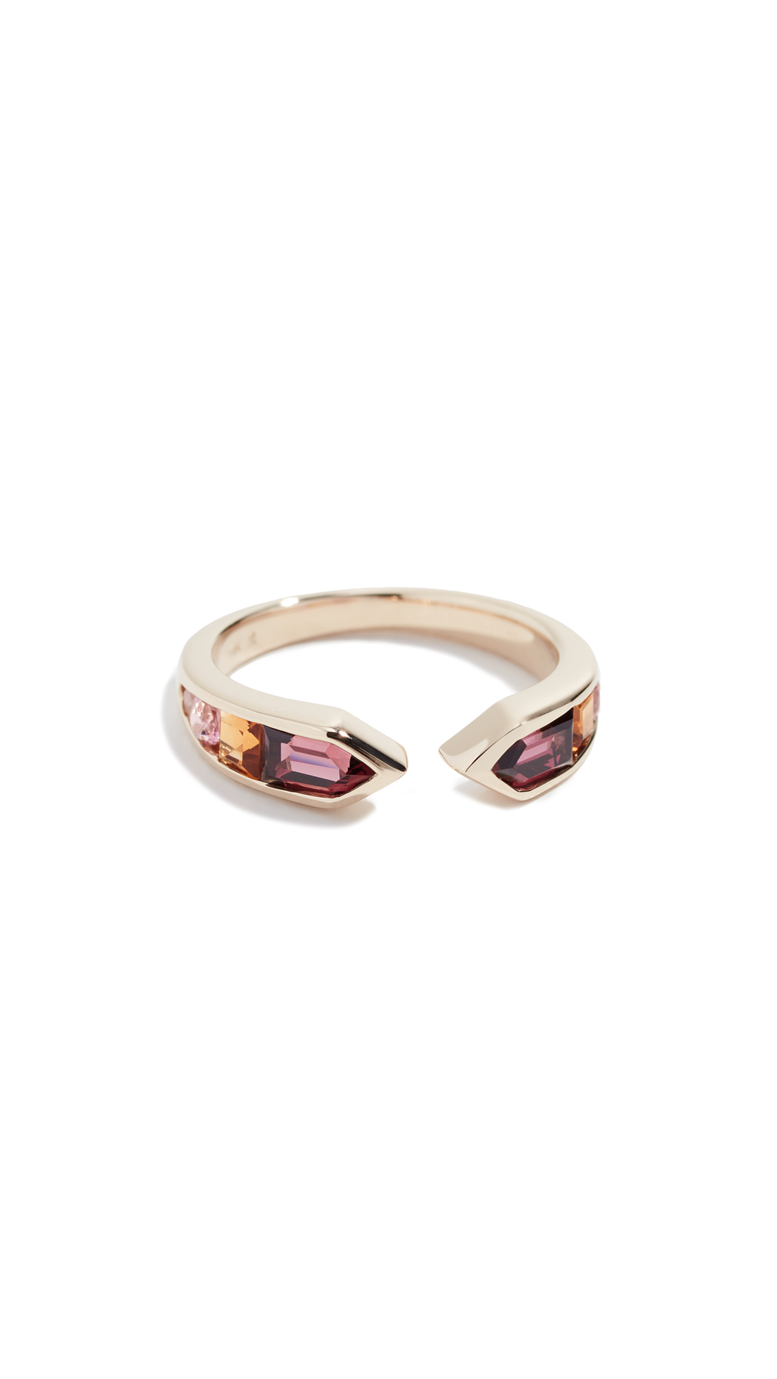 JANE TAYLOR 14K Meeting Arrows Ring in Red Multi