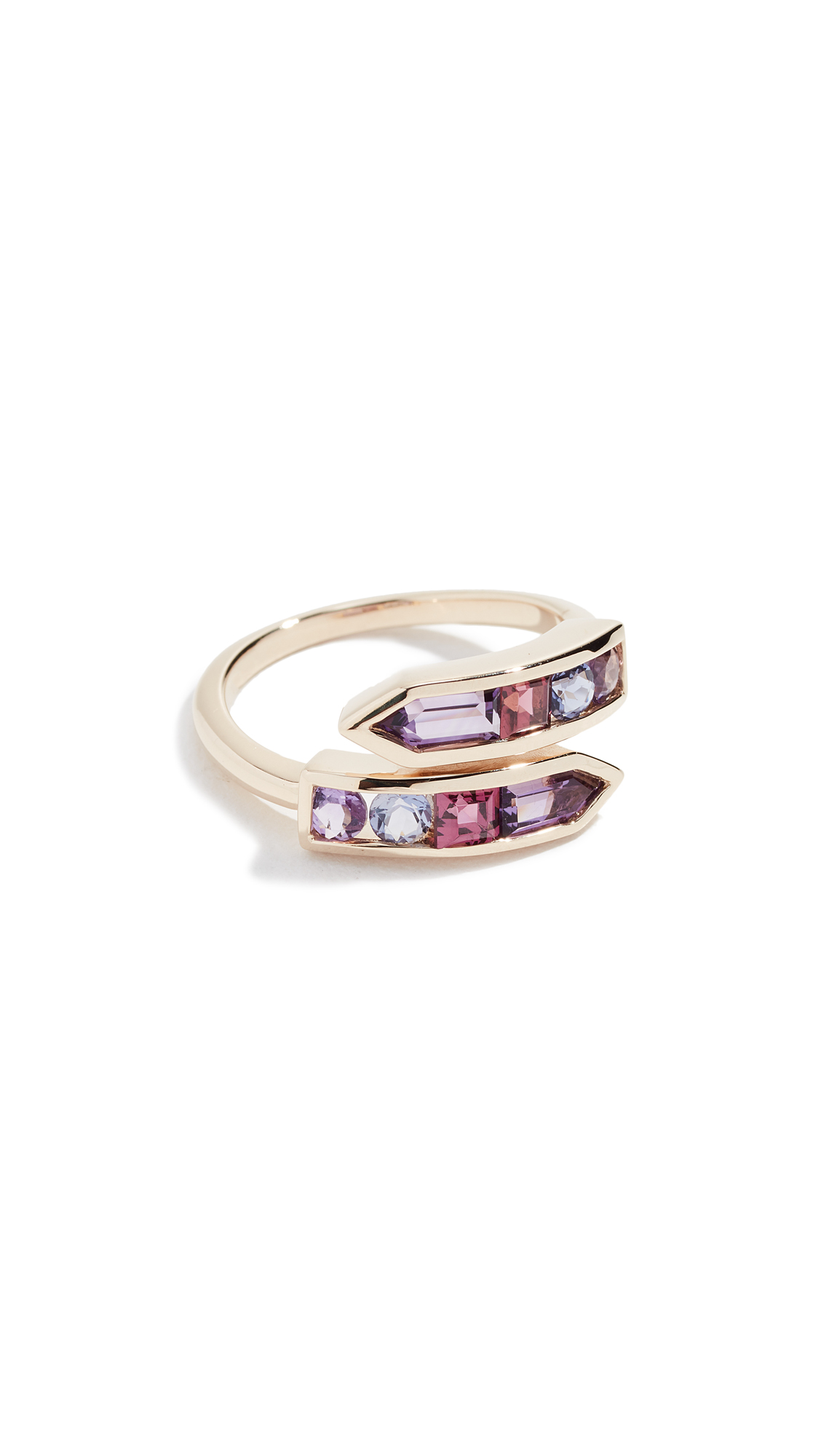 JANE TAYLOR 14K Bypass Arrow Ring in Purple Multi