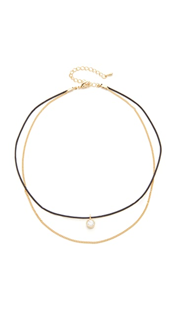 Jules Smith Merci Crystal & Chain Choker Necklace
