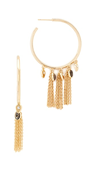 Jules Smith Arya Fringe Hoop Earrings - Gold/Clear/Abalone