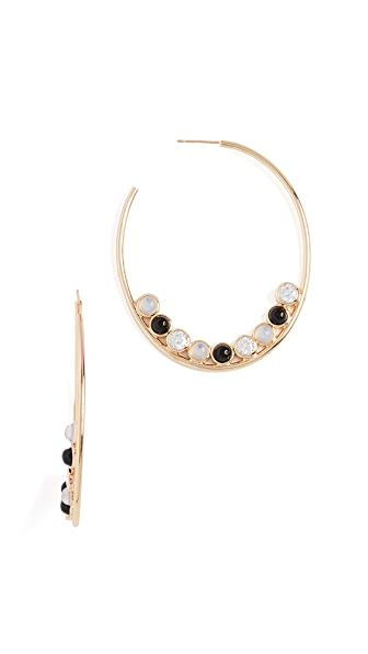 Jules Smith Round Stone Hoop Earrings In Gold/Black/Clear/Moonstone