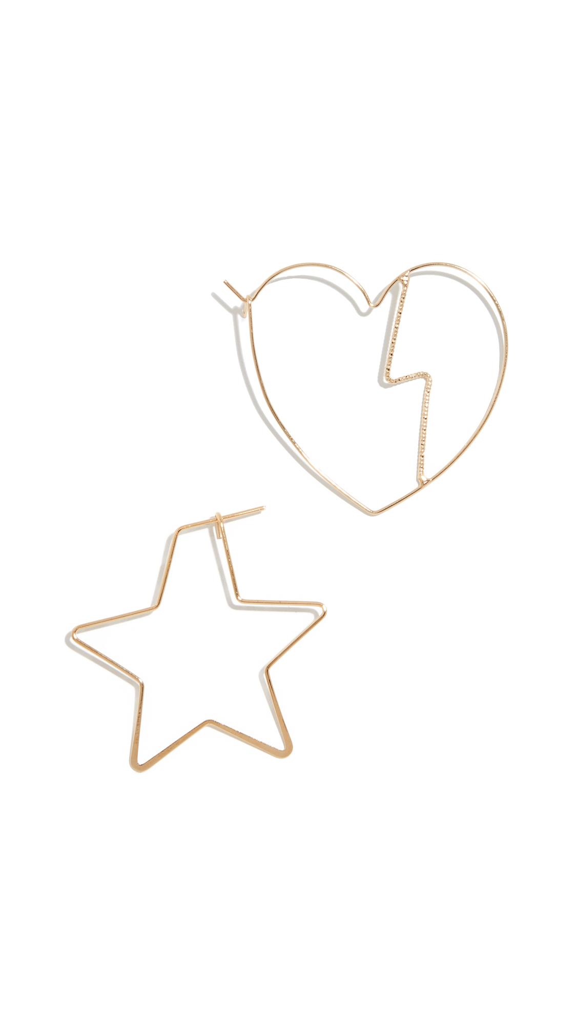 JULES SMITH Heartbreak Mismatched Earrings in Gold