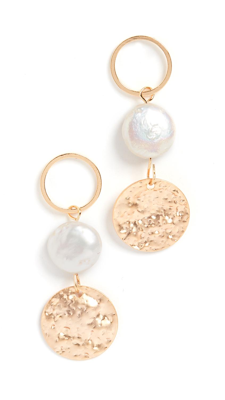 Jules Smith Pearl Disc Drop Earrings In Gold/Pearl