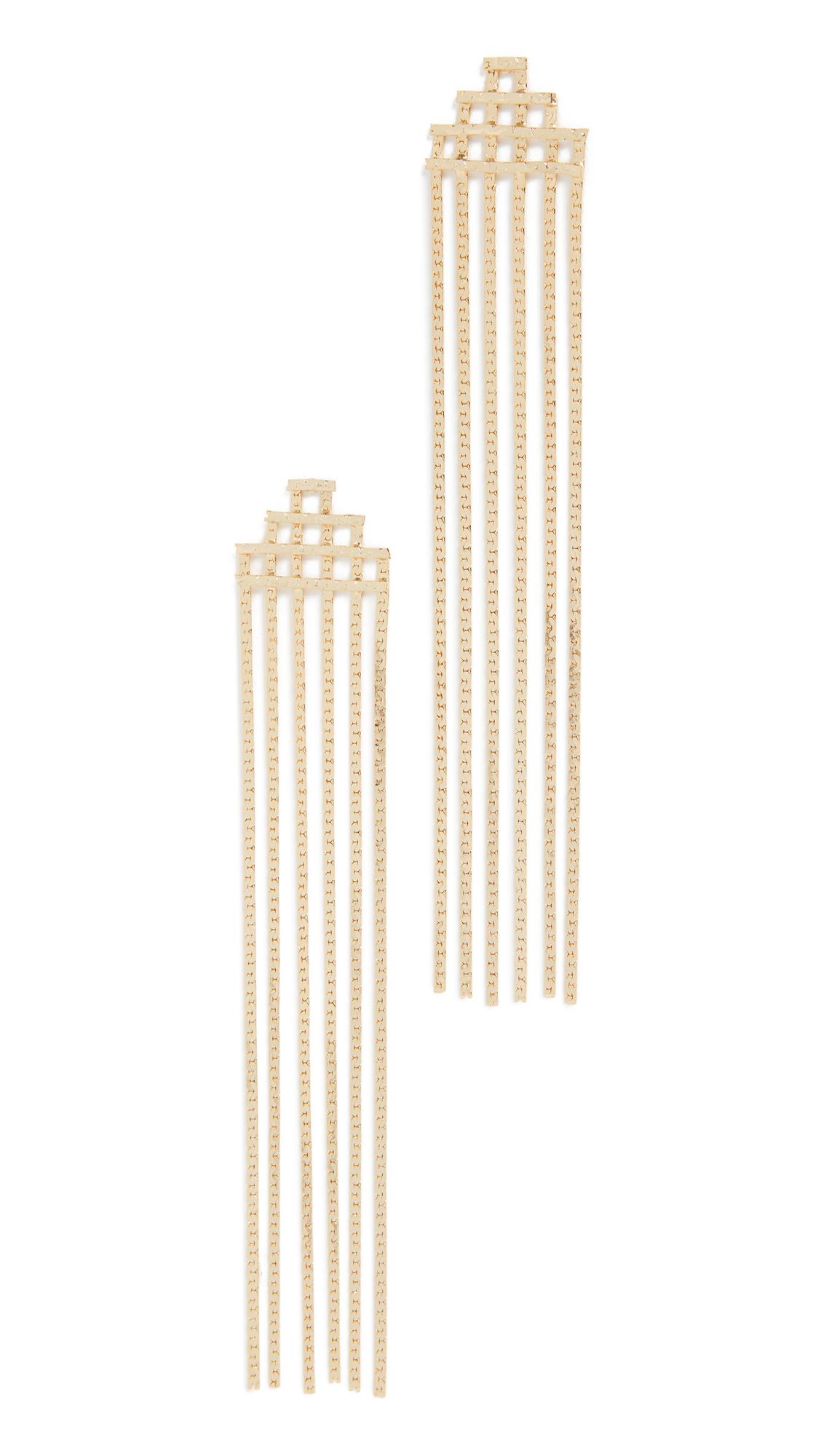 Jules Smith Disco Fringe Earrings In Yellow Gold