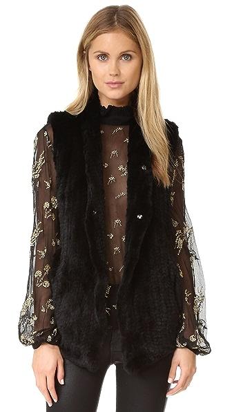 June Fur Shawl Vest - Black