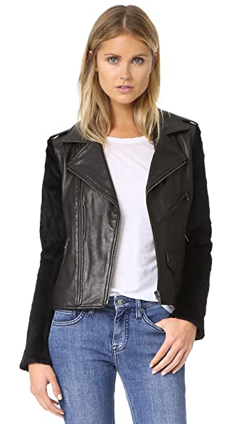 June Moto Jacket with Fur Sleeves